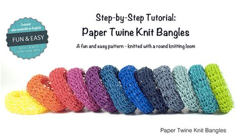 step by step knitting items similar to tutorial paper twine knit bangles