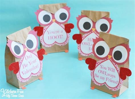 valentines paper crafts owl craft paper treat bags with a free