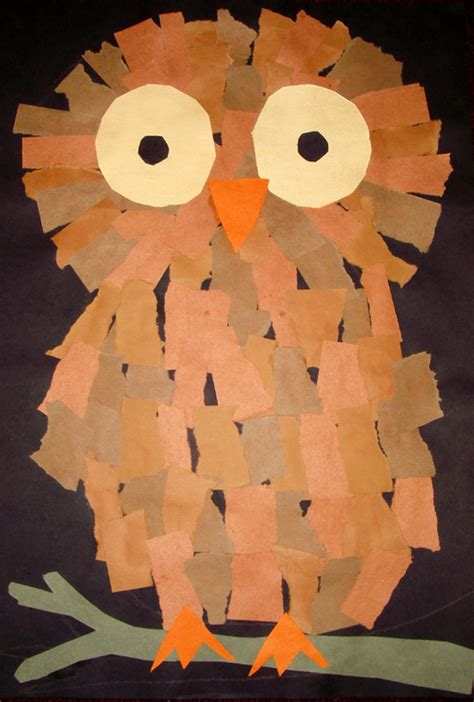 owl craft projects torn paper fall crafts owl crafts ideas