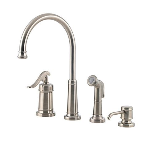 pfister gt26 4ypk ashfield 4 kitchen faucet with sidespray and matching soap dispenser