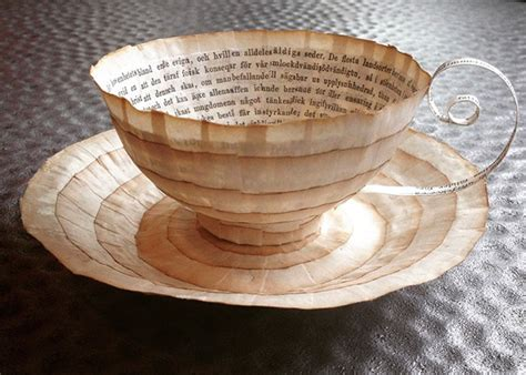 craft work with paper cups books repurposed into paper cups and saucers by