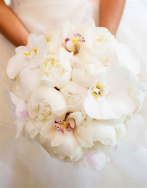 peonies and orchids orchid wedding bouquets in brilliant colors modwedding