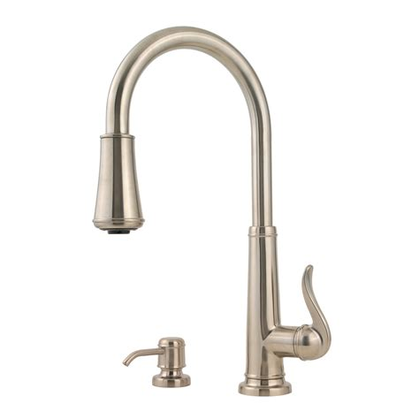 shop pfister ashfield brushed nickel 1 handle pull kitchen faucet at lowes