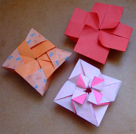 box flower origami origami boxes shruiken box and flower box flickr