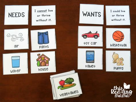 card needs wants vs needs learning pack free this reading