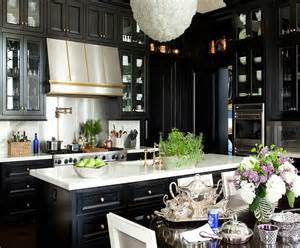 kitchens with black cabinets black cabinets gold hardware design ideas
