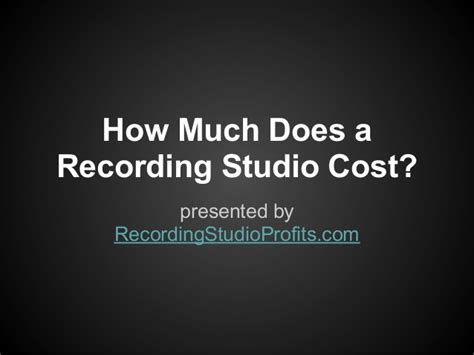 how much is studio how much does a recording studio cost