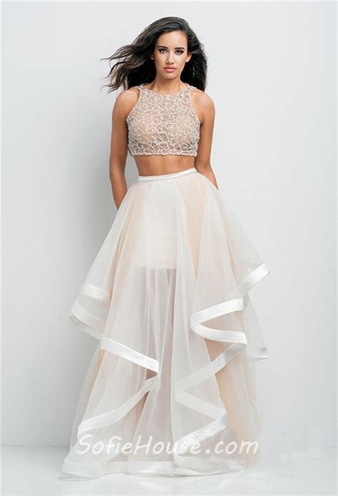 beaded two prom dress a line scoop neck tulle beaded two