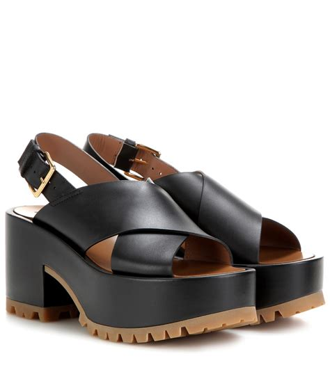 leather platform sandals marni leather platform sandals in black lyst