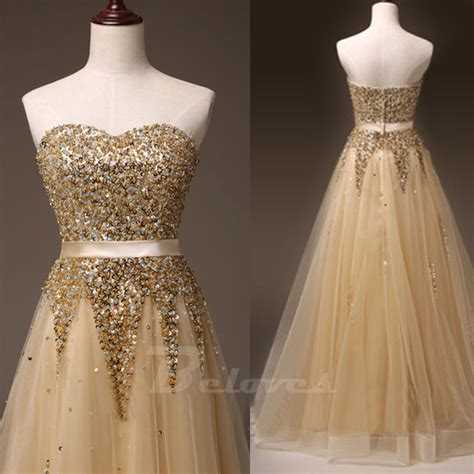 gold beaded gowns gold tulle sweetheart beaded a line formal prom dress