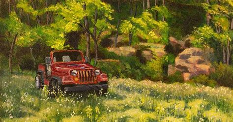 acrylic painting of jeep title jeep by the bluff artist janet felts medium painting