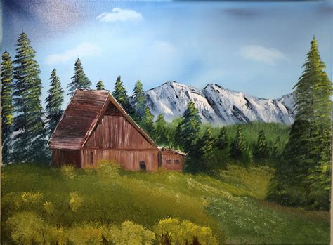 bob ross painting barns gary frascarelli artist painting