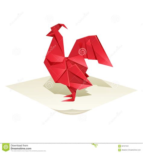 origami chicken origami rooster stock vector image 60727341