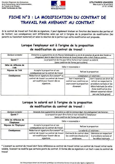 Modification Du Contrat De Travail En by Modification Du Contrat De Travail Assistante Maternelle