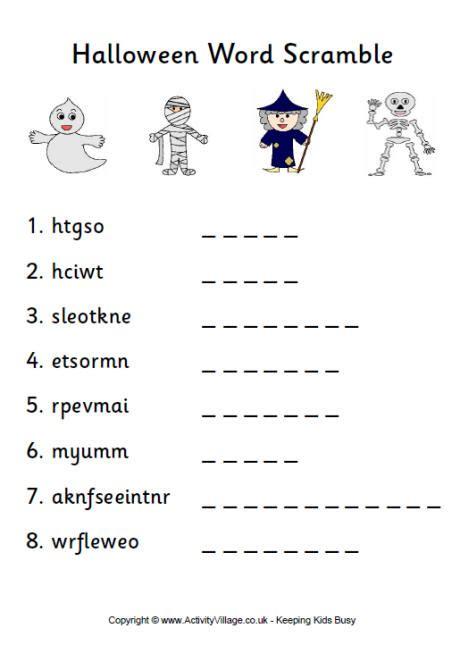 scrabbled words jumble puzzles worksheet