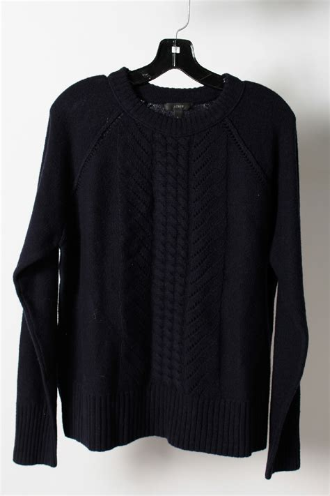 navy blue cable knit sweater nwt 95 j crew navy blue wool crewneck cable knit sweater