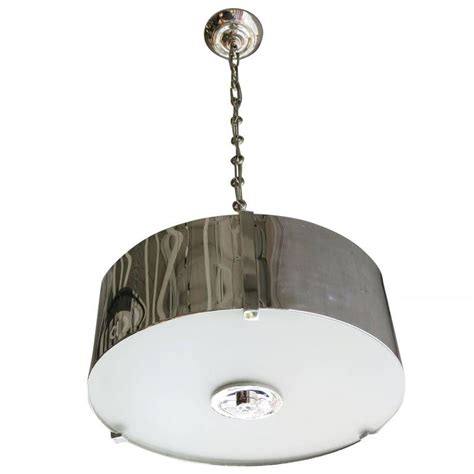 glass drum chandelier chrome drum chandelier with frosted glass shade saturday sale for sale at 1stdibs