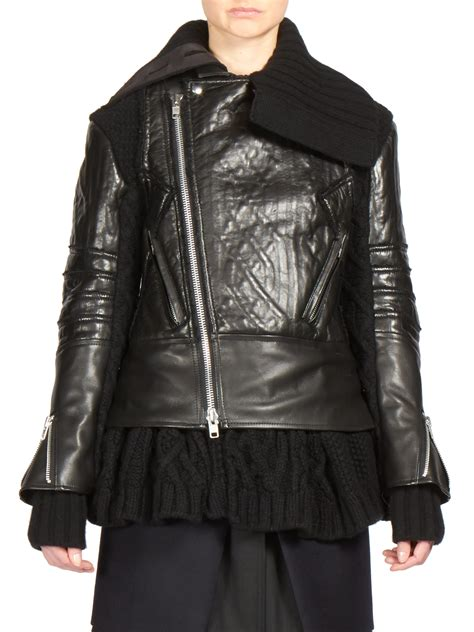 moto knit jacket sacai leather cable knit moto jacket in black lyst