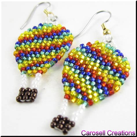 bead up air balloon up and away seed bead earrings by