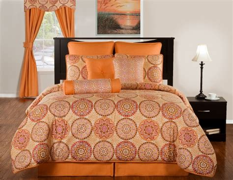 orange comforter sets king 4pc modern mango pumpkin orange mosaic design cotton
