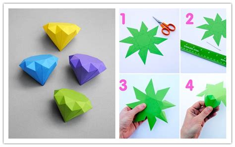 cool paper crafts easy how to make cool diy 3d paper diamonds step by step