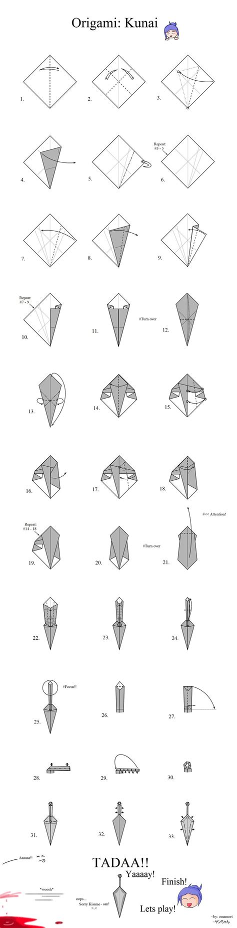 origami kunai knife tutorial origami kunai by mahou no omamori on deviantart