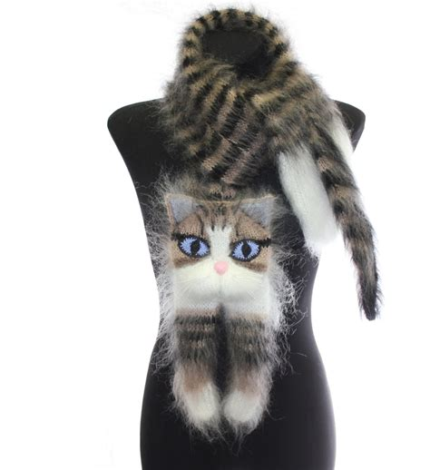 knitting cat hair knitted scarf animal scarf tabby cat fuzzy black
