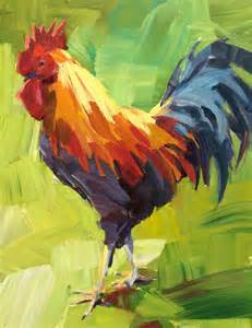 acrylic paint or watercolor rooster painting by patti mollica follow along to