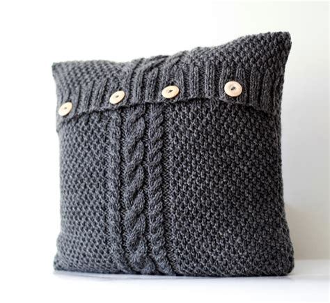 cable knit pillow knitted gray pillow cover cable knit decorative