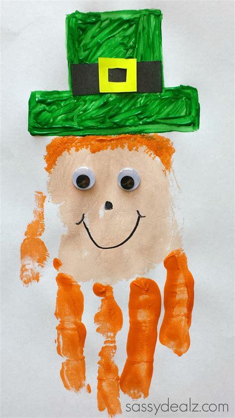 patricks day crafts leprechaun handprint craft for st patricks day idea