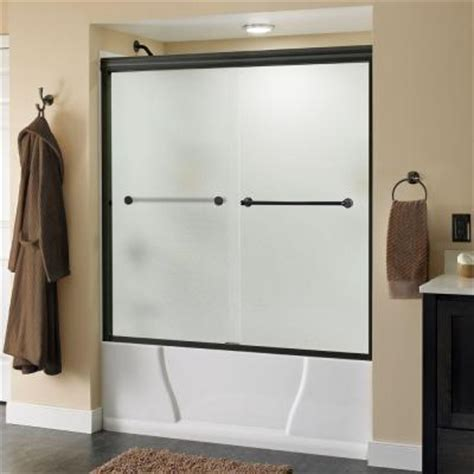 bathtub shower doors home depot delta crestfield 59 3 8 in x 58 1 8 in bypass sliding