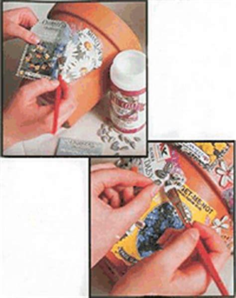 how do you do decoupage decoupage clay flower pot familycorner 174