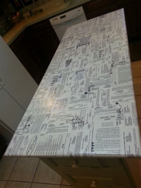 decoupage countertops decoupaged cook book pages onto my center kitchen