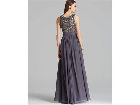 js collection beaded gown js collections beaded bodice chiffon gown gladiator in