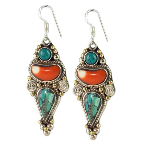 jewelry supplies earrings tibetan earrings 2 3 4 quot x 15 16 quot turquoise coral brass