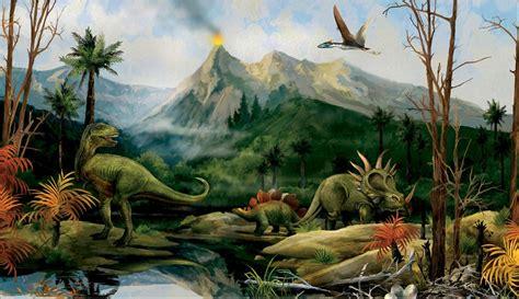 dinosaurs murals walls dinosaur landscape wall mural jurassic dino volcano