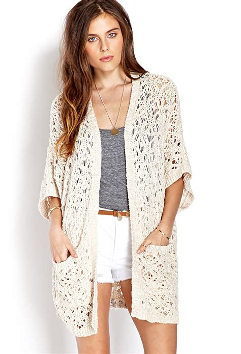open knit cardigan forever 21 everyday open knit cardigan in lyst