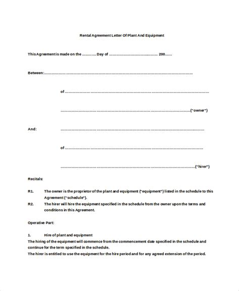 rental agreement letter 7 word pdf documents download