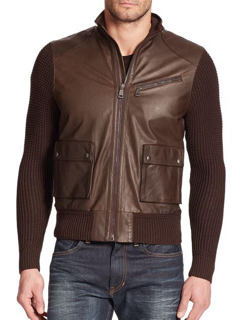 knit sleeve leather jacket ralph black label knit sleeve leather motorcycle