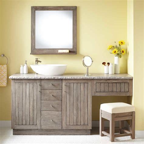 bathroom cabinets with makeup vanity 72 quot montara teak vessel sink vanity with makeup area
