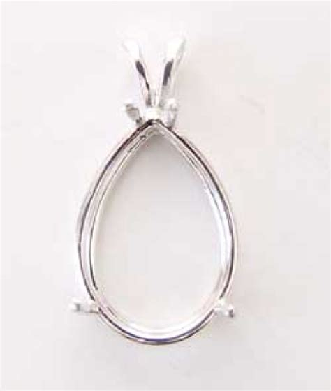 jewelry settings 25x18mm pear shaped sterling silver pendant setting for