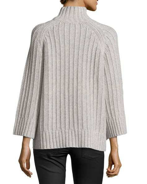 shaker knit sweater michael kors ribbed shaker knit sweater in gray lyst