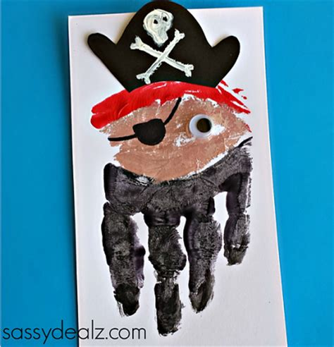 pirate crafts for handprint pirate craft for card idea crafty morning