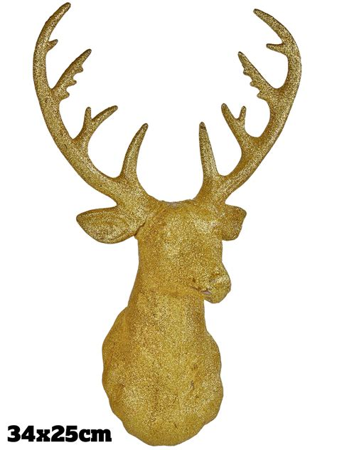 gold reindeer gold glitter stag decoration wall