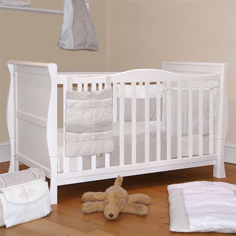 bed cot 4baby 3 in 1 white sleigh cot bed baby cotbed with foam