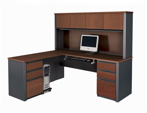 office desk l bestar prestige l shaped desk and hutch