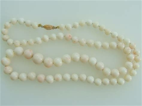 white coral bead necklace genuine white coral graduated bead necklace 26 quot 14k