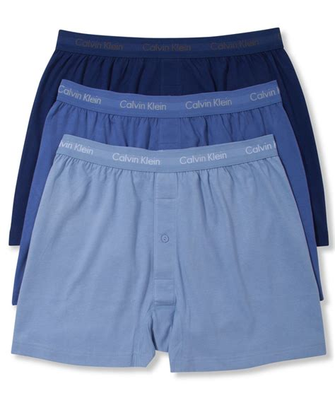 knit boxers calvin klein s classic knit boxers 3 pack in blue for