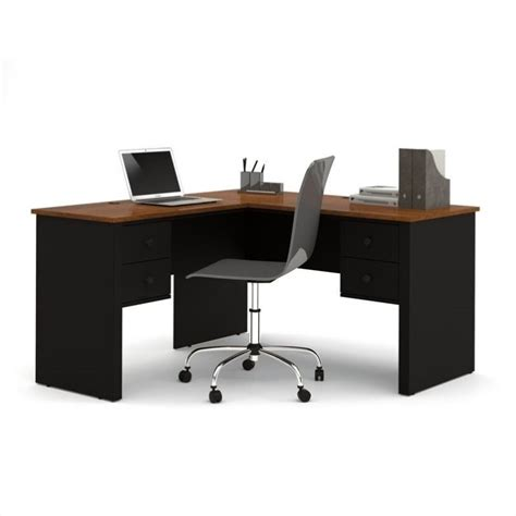 black l shaped computer desk bestar somerville l shaped desk in black and tuscany brown 45420 18