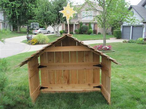 outdoor creche cedar nativity stable creche wood large blowmold